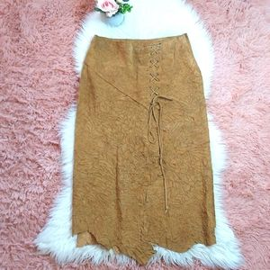 Y2K Raw Edge Suede Long Lace Up Boho Skirt